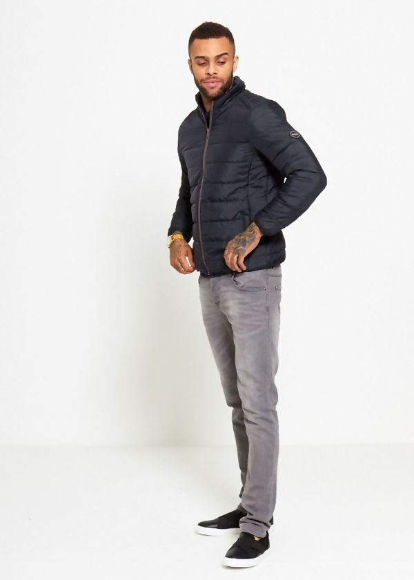 Black Funnel Neck Quilted Bomber Jacket