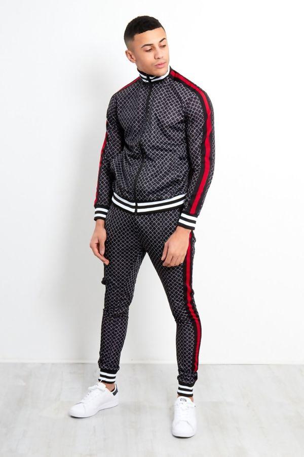 Black Funnel Stripe Zip Up Skinny Fit Tracksuit