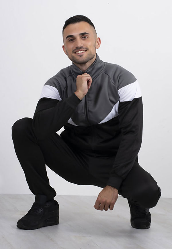 Black Funnel Tracksuit With Colourblock Panel Detail