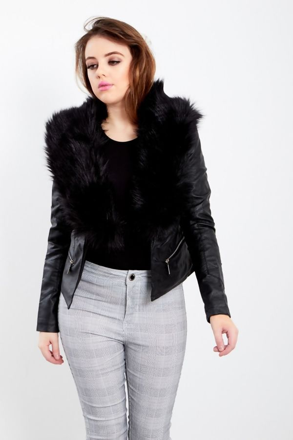 Black Fur Line Biker Jacket
