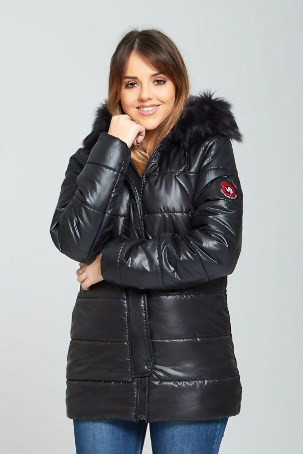 Black Fur Trim Hooded Puffer Jacket