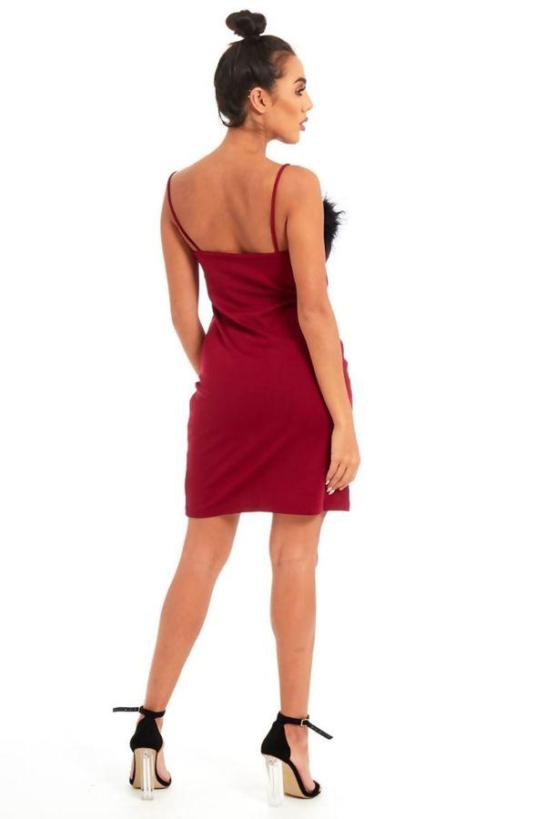 Black Fur Trim Wine Mini Dress