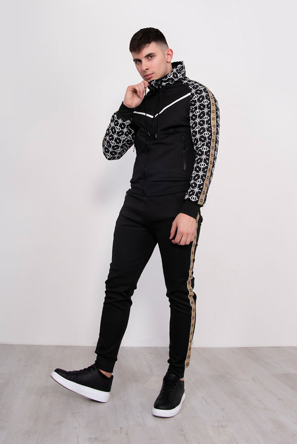 Black Geometric Printed Hooded Skinny Tracksuit