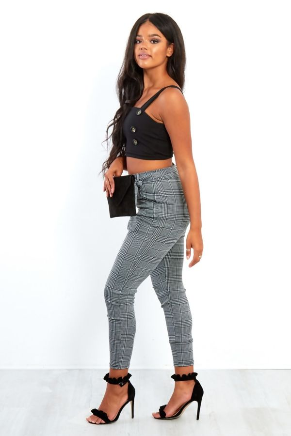 Black Gingham Belted Cigarette Trousers