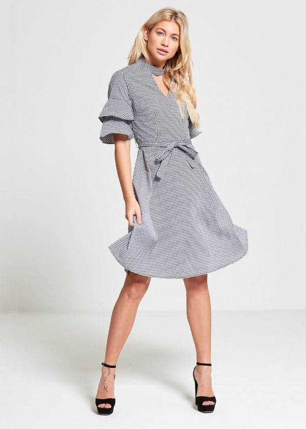 Black Gingham Check Choker Neck Dress