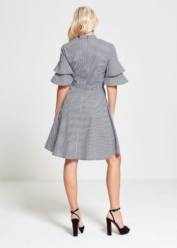 Black Gingham Check Choker Neck Dress