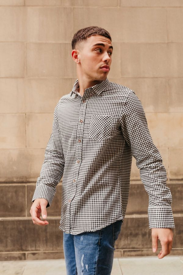 Black Gingham Long Sleeve Collar Shirt