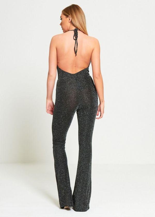 Black Glitter Halter Neck Jumpsuit
