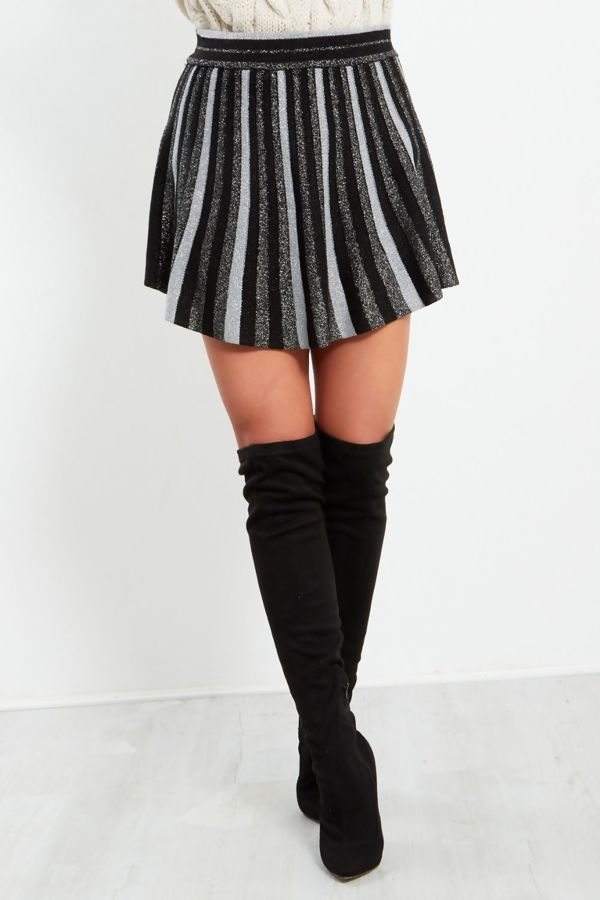 Black Glitter Mini Skirt