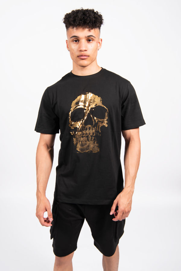 Black Gold Skull Print Crew Neck T-Shirt