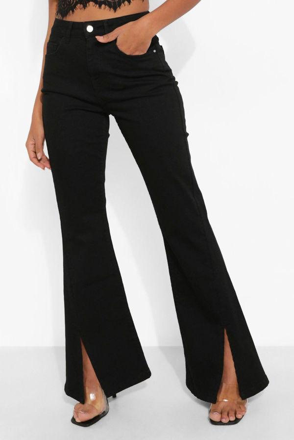 Black High Rise Split Hem Boot Cut Jean