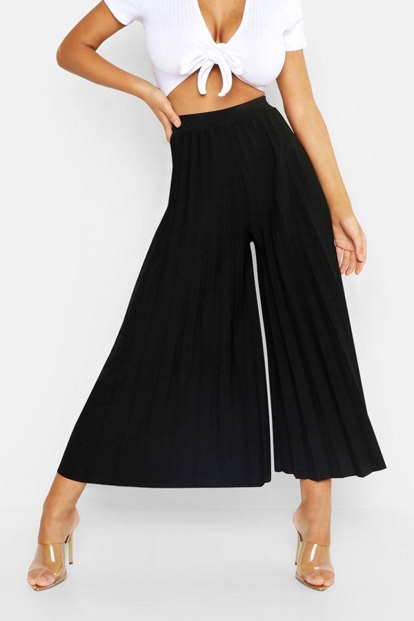 Black High Waist Pleated Wide Leg Culottes