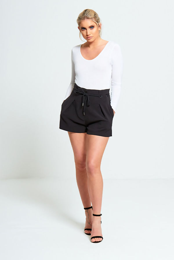 Black High Waist Tie Up Shorts
