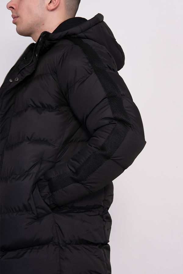 Black Hooded Longline Padded Coat