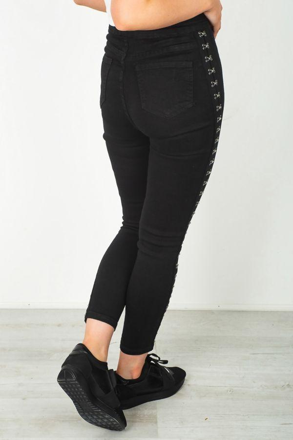 Black Hook Side Skinny Fit Jeans