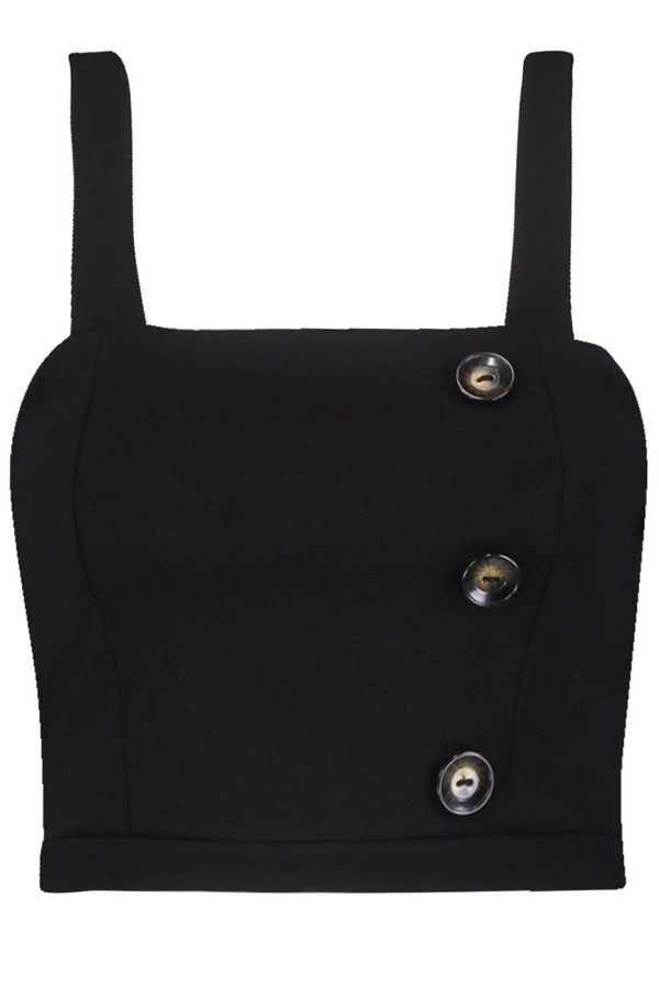 Black Horn Button Panelled Bralet
