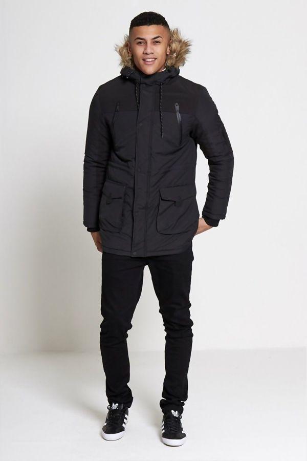 Black Hue Fur Hood Parka Coat