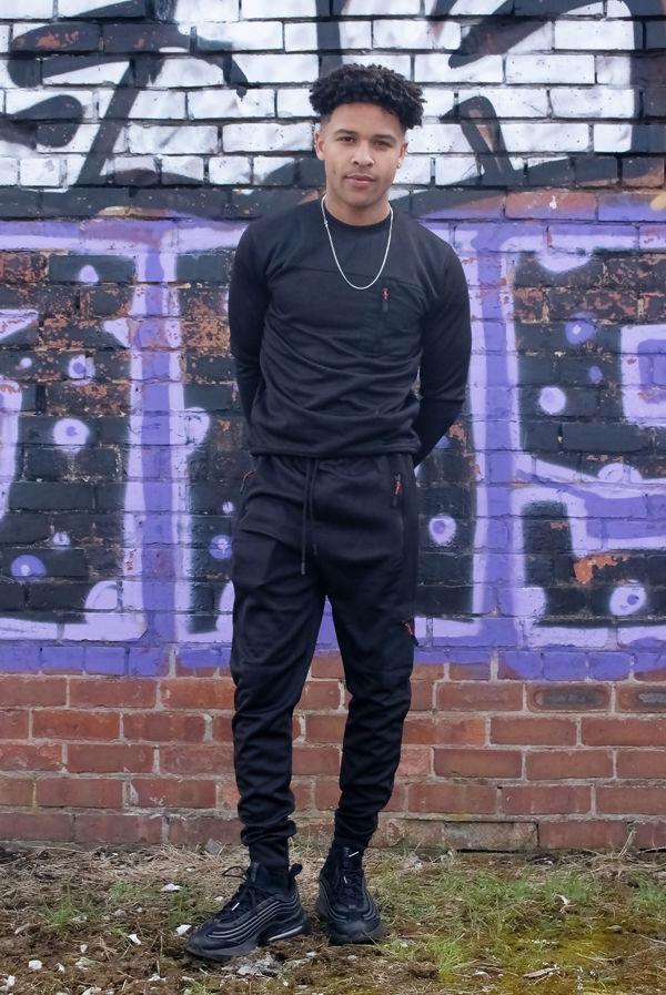 Black Hybrid Pocket Muscle Fit Pullover Tracksuit Pre Order