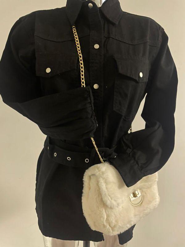 Black Belted Denim Jacket