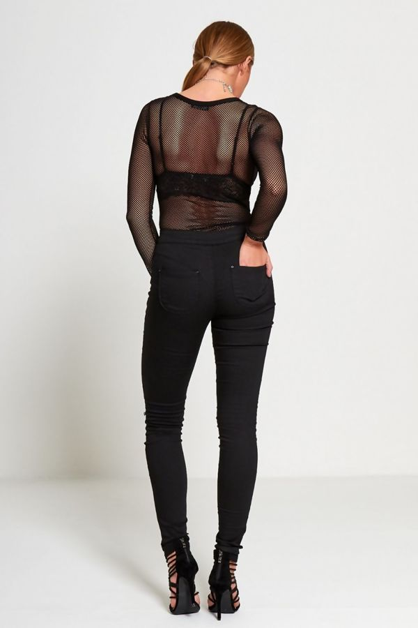 Black Knee Ripped High Waist Skinny Jeans