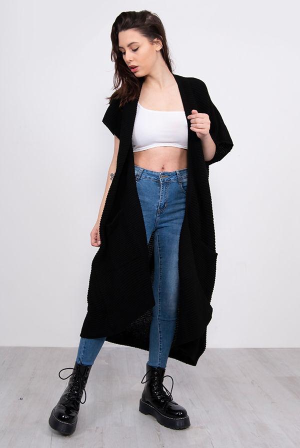 Black Knitted Kimono Cardigan