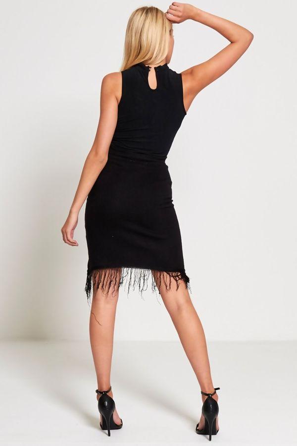Black Knitted Tassels Hem Skirt