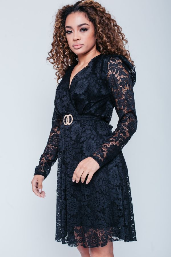 Black Lace Full Sleeves Skater Dress