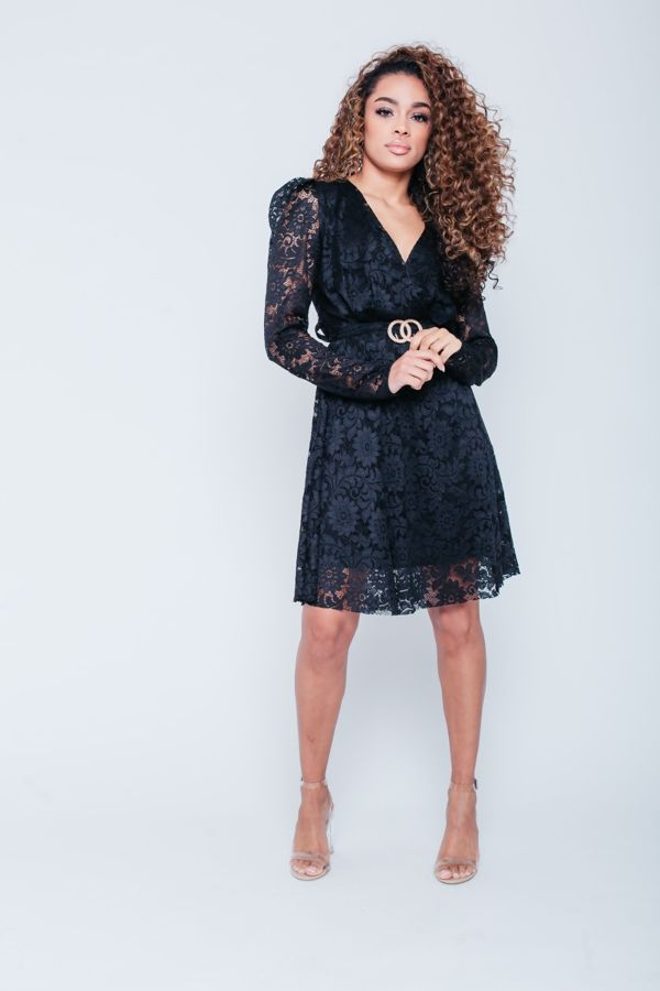 Lace Full Sleeves Skater Dress