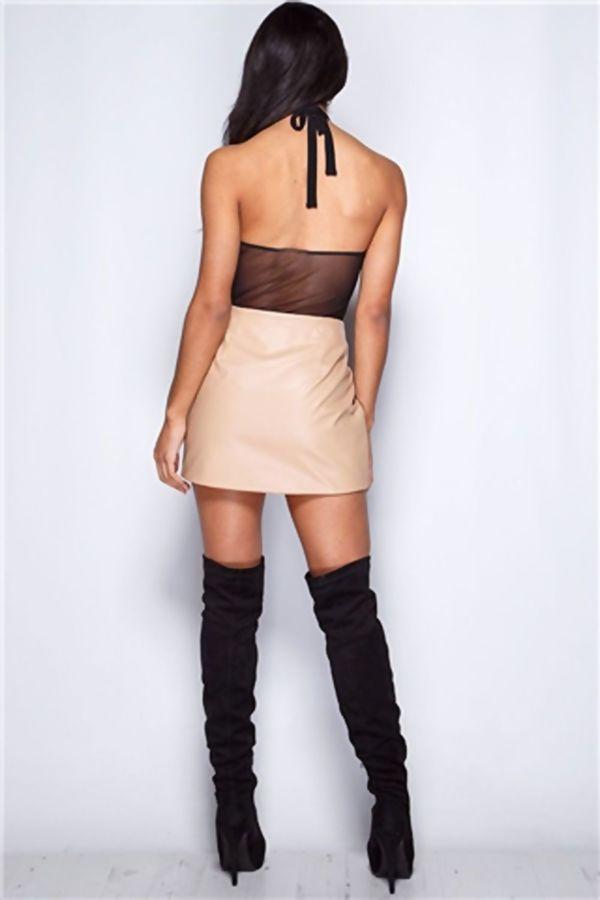 Black Lace Mesh Halter Neck Sexy Bodysuit
