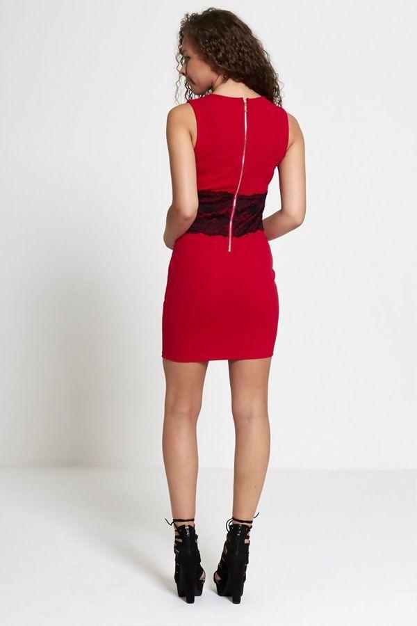 Black Lace Trim Bow Front Bodycon Mini Dress