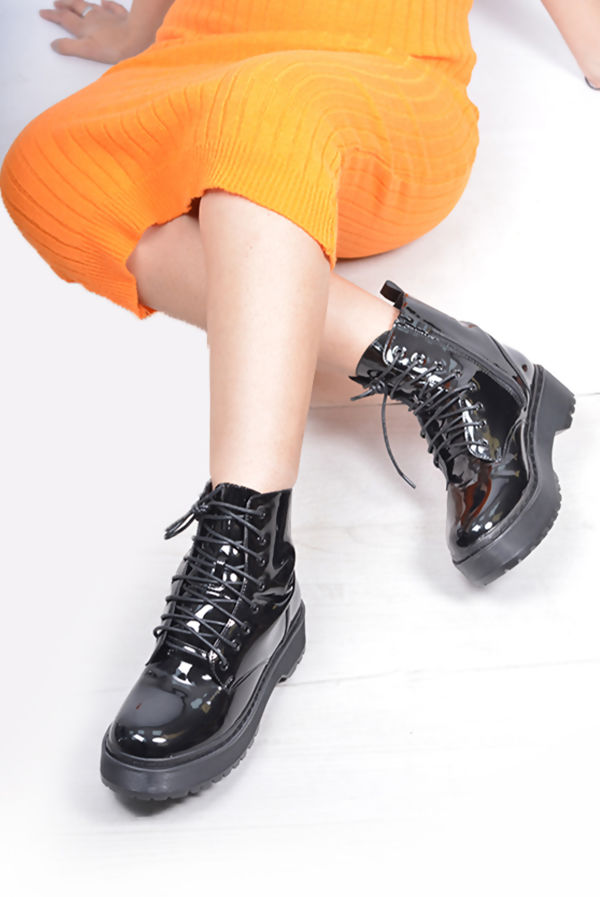 Black Lace Up Patent Boots