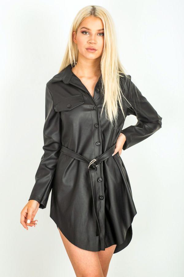 Black Leather Belted Shirt Dress