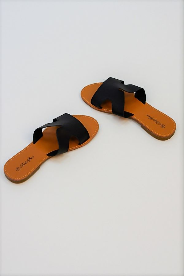 Black Leather Flat Slip On Slider