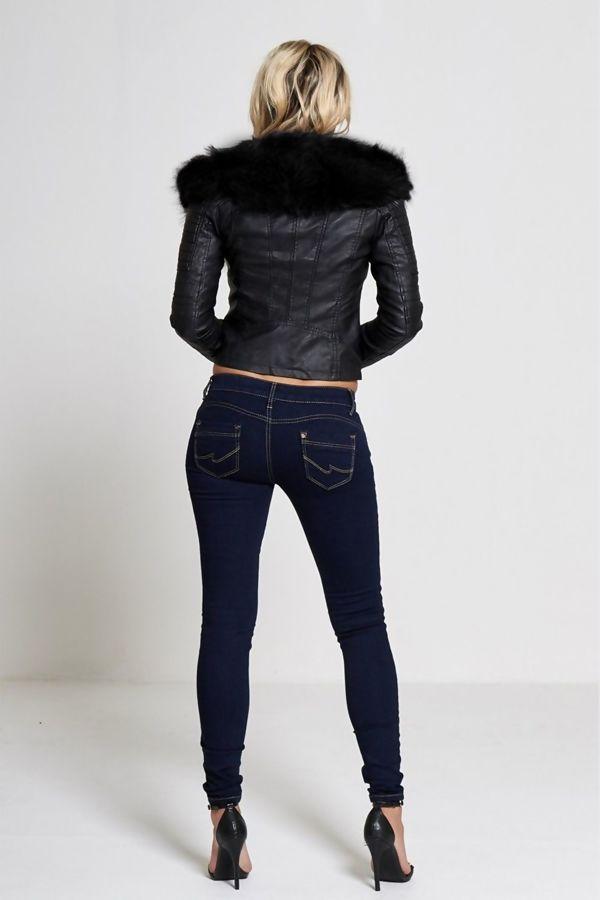 Black Leather Fur Line Biker Jacket