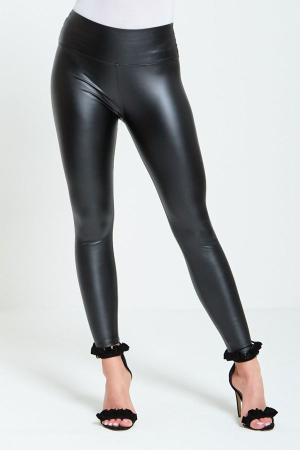 Black Leather Look High Waist Legging
