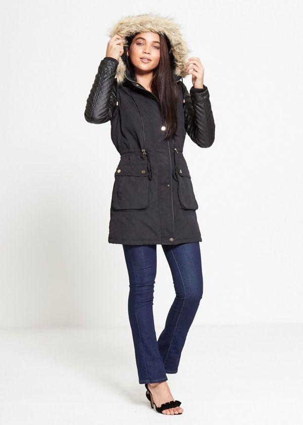 Black Leather Sleeve Fur Hood Parka