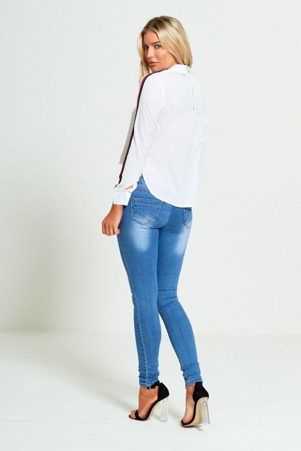 Black Long Sleeves Dip Hem Stripe Shirt
