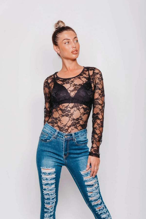 Black Long Sleeves Lace Top