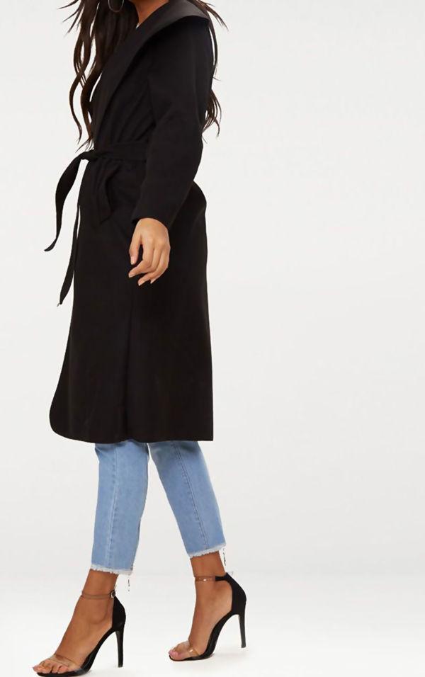 Black Long Waterfall Duster Coat