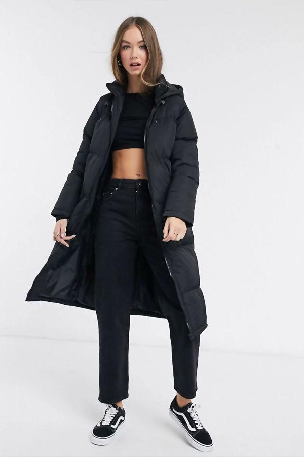 Black Longline Hooded Puffer Coat Pre Order