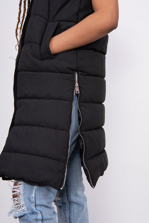 Black Longline Hooded Puffer Gilet