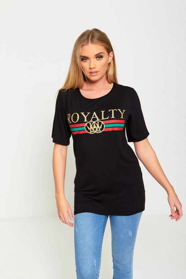 Black Longline Royalty Slogan T-Shirt