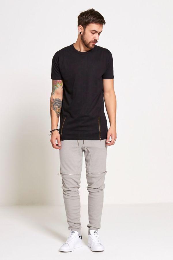 Black Longline Zipper T-Shirt