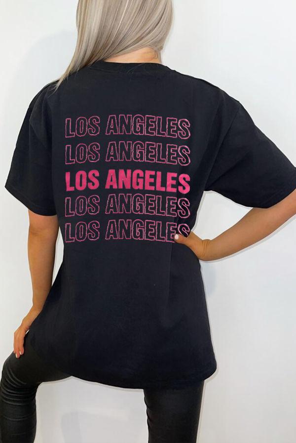 Black Los Angeles Back Oversized Tee