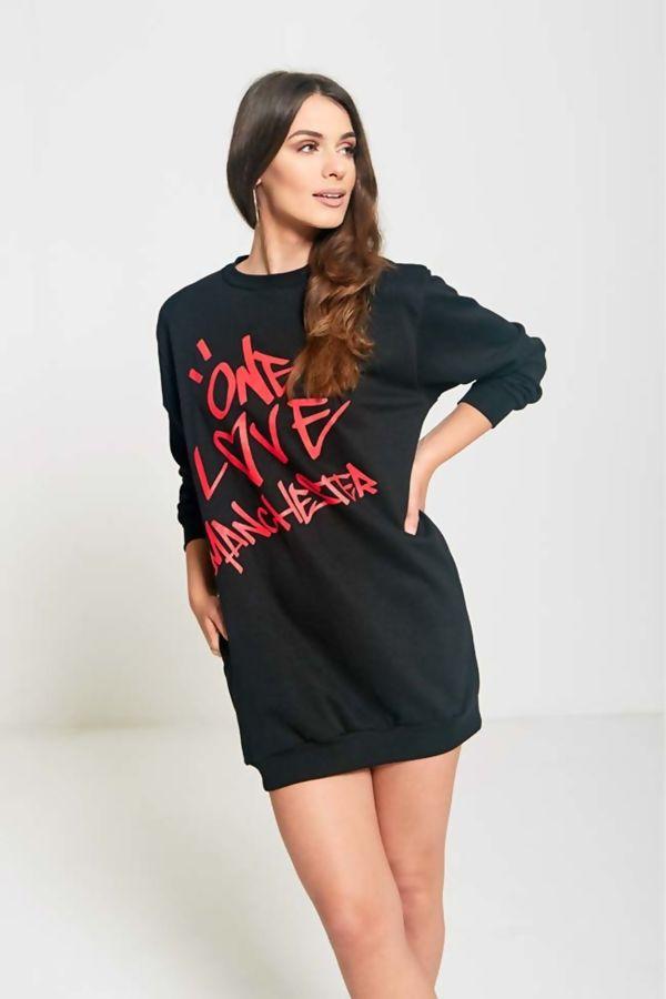 Black Love Manchester Printed Mini Sweat Dress