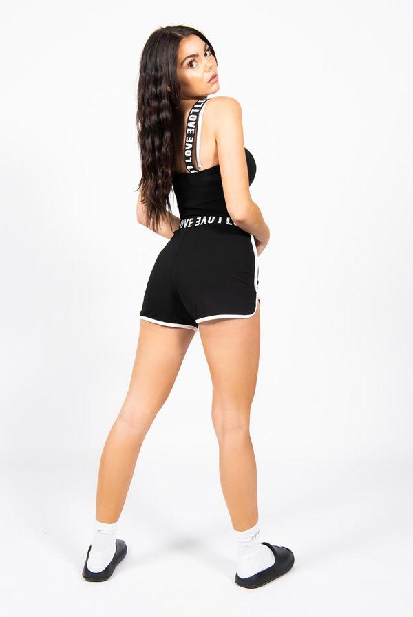 Black Love Tape Crop Top And Runner Short Activewear Set