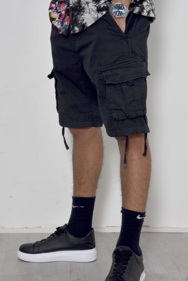 Black Manchester Utility Shorts