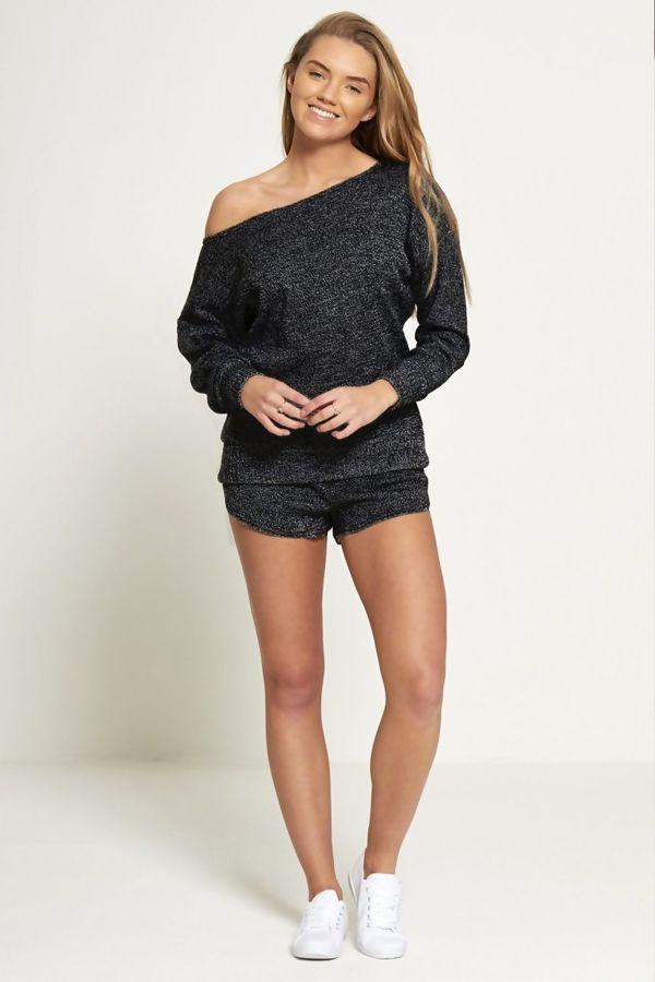 Black Marl Knit Jumper And Short Set