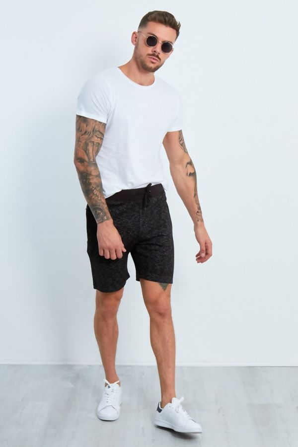 Black Marl Zipped Pocket Jogging Shorts