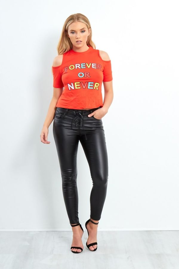 Black Matte Pu Lace Up Skinny Jeans